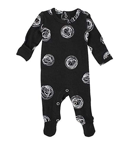 (L'ovedbaby Organic Baby Footie Graphic Back-Snapped Footed Overall (0-3 Months, Spheres))
