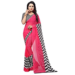 GoSriKi Georgette with Blouse Piece Saree (PIKU Pink-Flex Free Size)