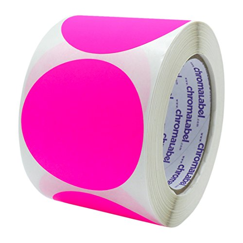 (ChromaLabel 3 inch Color-Code Dot Labels | 500/Roll (Fluorescent Pink))