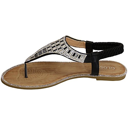 SheLikes  Flat Sandals,  Damen Sling Backs Schwarz