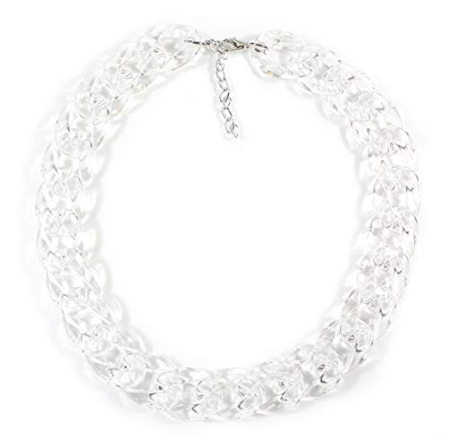 """Curb Appeal, Transparent"", Crystal Clear Acrylic Curb Chain Short Necklace, 18-20 Inches"