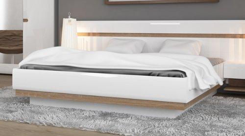 Bett Doppelbett 16703 140 X 200 Cm Weiss Hochglanz Eiche Truffel
