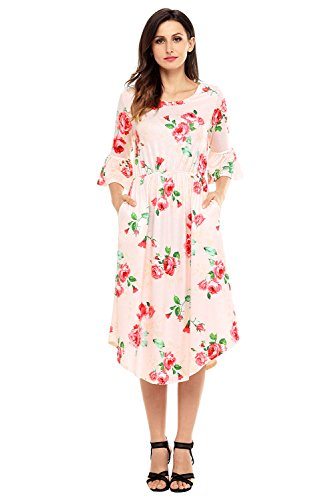 Women's Casual Loose Pocket Dress Floral Summer Dress 3/4 Bell Sleeve Midi Swing Dress Pink