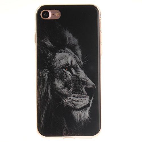 """Hülle iPhone 7 / iPhone 8 , LH Schwarzer Löwe TPU Weich Muschel Tasche Schutzhülle Silikon Handyhülle Schale Cover Case Gehäuse für Apple iPhone 7 / iPhone 8 4.7"""""""