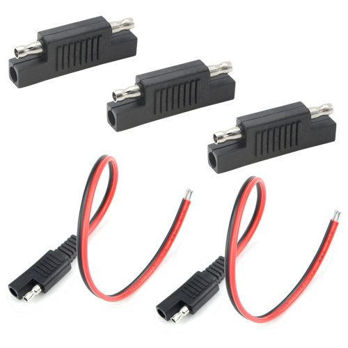 WGCD 2 PCS SAE Extension Cable Connector 18AWG 300mm + 3 PCS SAE to SAE Adapter Connector for Solar Panel Charge by WGCD