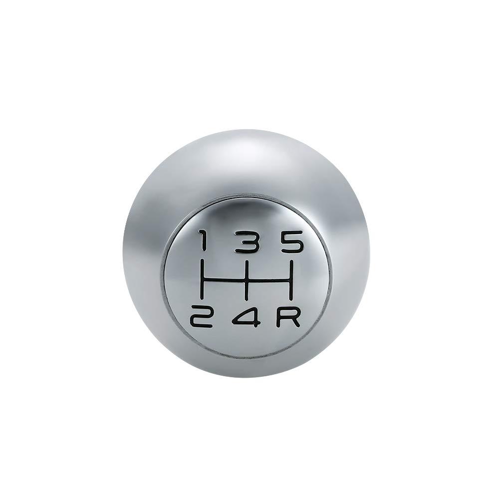 Festnight Gear Shift Knob Chrome Head Lever Adapter Manual 5-Speed Transmission Fit for Peugeot 106 206 207 306 307 407 408 508 807