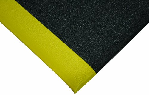 Wearwell PVC 440 UltraTred ArmorCote Light Duty Anti-Fatigue Mat, for Dry Areas, 2' Width x 3' Length x 3/8'' Thickness, Black/Yellow by Wearwell