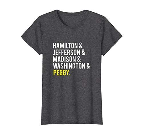 Womens Hamilton, Jefferson, Madison, Washington and Peggy Tshirt Small Dark Heather