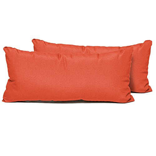 TK Classics Rectangle Outdoor Throw Pillows, Set of 2, Tangerine ()