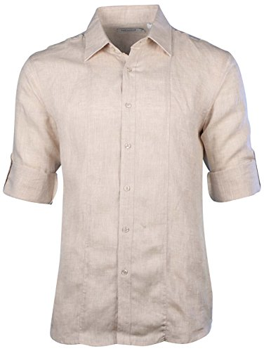 Mojito Collection (Mojito Collection Men's Linen Double Striped Front Core Rolled-Sleeve Shirt-Natural-Large)