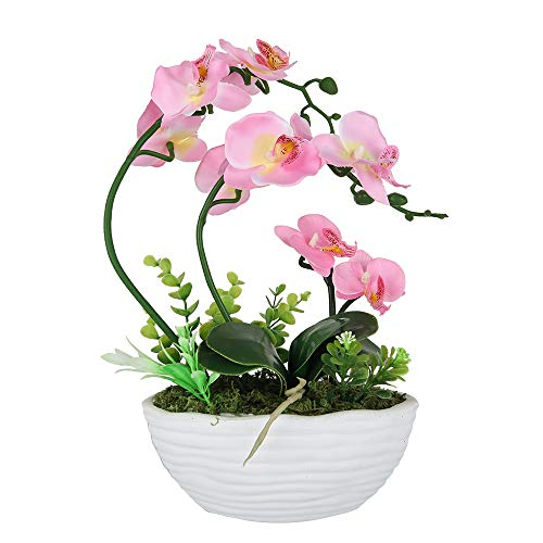 LIVILAN Pink Silk Phalaenopsis Flower Arrangement Artificial Orchid Flowers with White Vase, Dinning Table Centerpiece Decor (Orchid Pink Artificial)