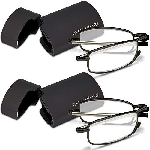 Marc De Rez Foldable Mini Reading Glasses 2 Pack - Flip Top Cases - Folding Prescription Readers For Men and Women (Black, 1.75)