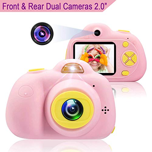 Kids Camera Gifts for 4-10 Year Old Girls, Anviker Shockproof Child Camcorder for Little Girls with Soft Silicone Shell for Outdoor Play, Pink (SD Card Not Includ)