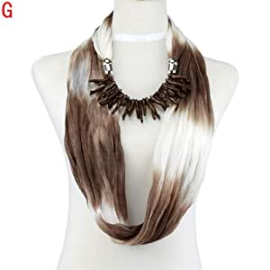 New Design Circle Shape Brown Coral Style Pendant Jewelry Scarf NL-1987G