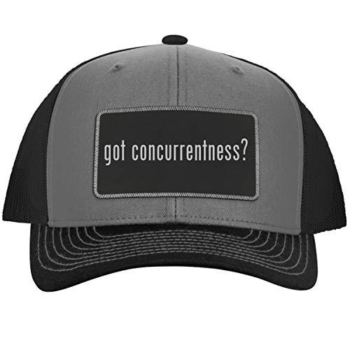 got Concurrentness? - Leather Black Metallic Patch Engraved Trucker Hat, GreySteel, One Size