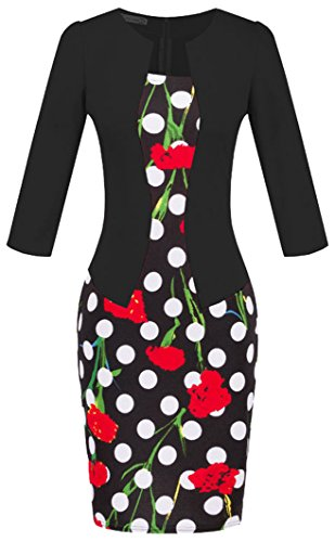 Vídeo de las mujeres Patchwork Slim Fit elegante Business cóctel fiesta animada Bodycon vestido Estilo 3