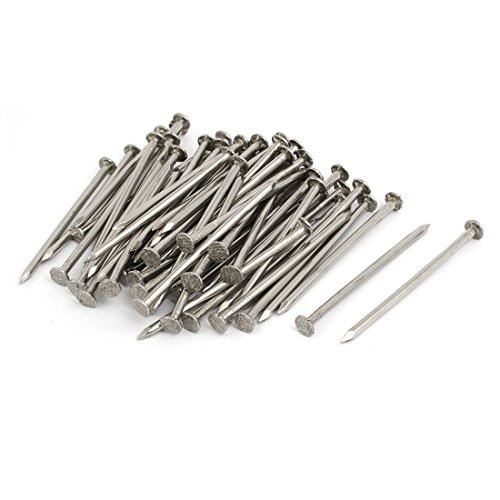 uxcell 2.5 Inch Length 304 Stainless Steel Cement Wood Sliding Nail Silver Tone 100pcs