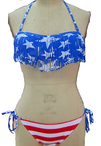 yingzuzeng Top with Floral Print Bottom Push-up Bikini Set For Women