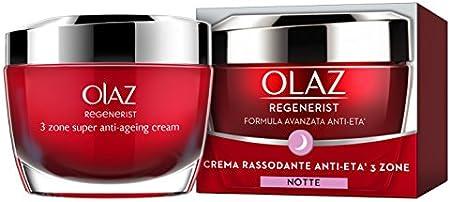 Olaz Regenerist - Crema facial antiarrugas de noche con ácido hialurónico, Niacinamida y Vitamina B5, hidratante y reafirmante, sin perfume, 50 ml