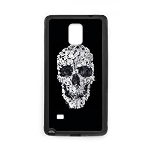 Samsung Galaxy Note 4 Phone Case Covers Black Doodle Skull UNE Western Phone Cases