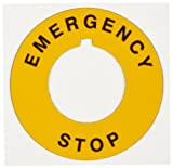 Brady THTEP-196-593YL 1.2 Hole Diameter B-593 Adhesive-Taped Polyester Black on Yellow Preprinted E-Stop Label Pack of 25