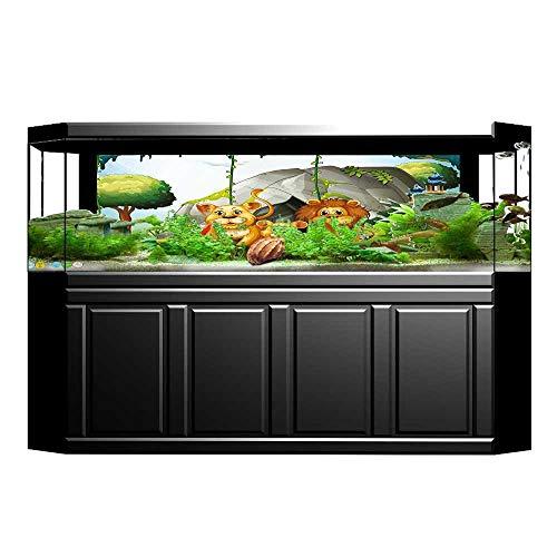 UHOO2018 Fish Tank Poster Aquarium Background Backdrop PVC Adhesive Family in The Jungle Woods King Zoo Nursery Illustration Apricot Chocolate Hunter Green Sticker Wallpaper Fish Tank 23.6