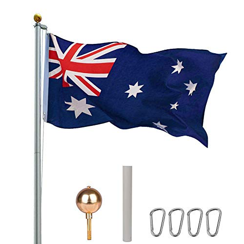 7.6M Flag Pole Kit for Residential or Commercial with Australian Flag Heavy Duty Aussie Aluminum Sectional Gold Ball Top