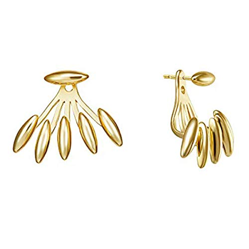 LOYATA Ear Jacket Stud Earrings, 14K Gold Plated Water Drop Melon Seeds Claw Clutch Talon Sunlight Unique Piercing Earrings Small Dainty Stud Earrings Ear Jacket Earrings for Women Girls (Claw)