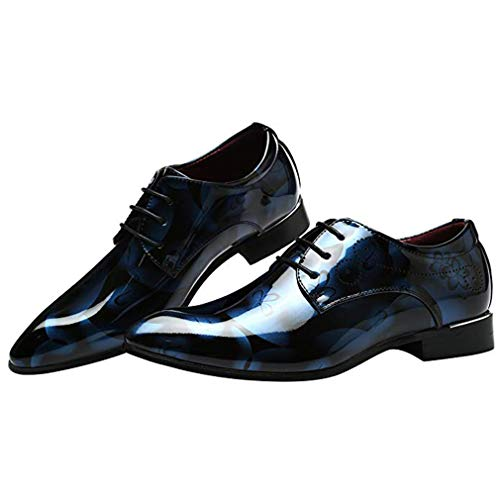 Oxford Hibote Robe Bureau La Hommes Derby En Lacets Chaussures Casual Pointu Vintage À D'affaires Cuir Bout Flat Verni Mode Floral Bleu Mariage Pour qETxqFOr