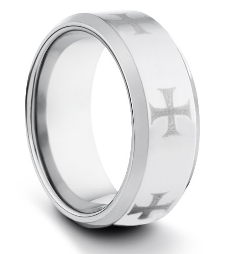9 mm de carburo de tungsteno pulido cómodo de anillo de bodas de los hombres anillo