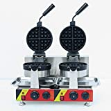 Wotefusi Stainless Steel Commercial Waffle Iron Machine 4PCS Electric Waffle Maker Double Range Non Stick Surface 110V New