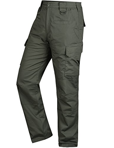 HARD LAND Men's Waterproof Tactical Pants Ripstop Cargo Pants With Elastic Waistband For Work Hunting Fishing Hiking Size 34W×32L OD Green by HARD LAND
