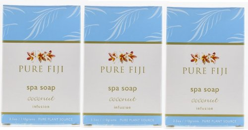 Honey Mango Spa - Pure Fiji Spa Soap - Lot of 3, Coconut Infusion, Mango Infusion & Coconut Milk and Honey