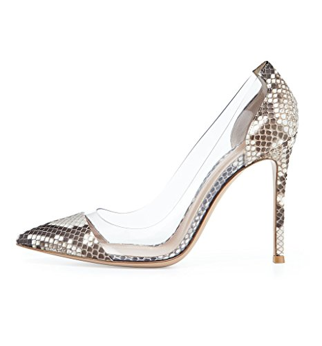Pointed ViViKiKi Dress PVC Toe High Shoes Python Cap Women's Heel Side Slip Pumps 100mm On Party Sw4rxSEqa