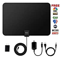 Botee Indoor TV Antenna - Upgraded Digital HDTV Antenna 50-80 Miles Range with Amplifier Signal Booster for Indoor, High Reception Antenna for 4k 1080P Channels Free for All Older TV's