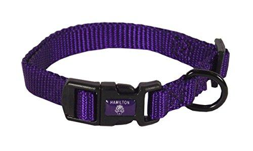 "Hamilton Adjustable Nylon Dog Collar, Purple, 3/8"" x 7-12"""