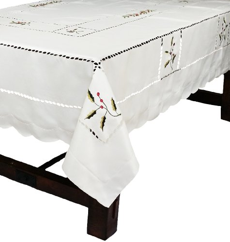Xia Home Fashions Holly Berry Embroidered Cutwork Christmas Tablecloth, 72-Inch by 120-Inch by Xia Home Fashions