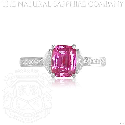 Natural Pink Sapphire Ring (1.52ct. Natural Pink Sapphire Ring with 2 fancy cut diamonds 0.25ct. and pave set diamonds 0.11ct. (J1576))