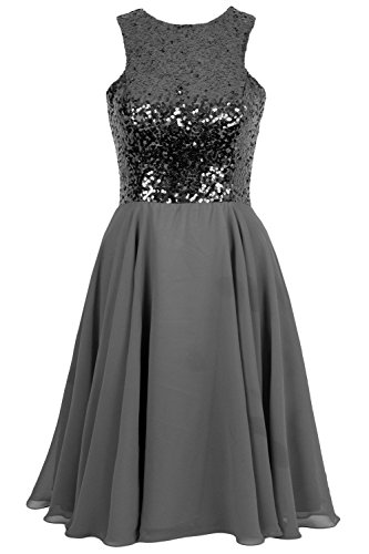 Elegant Dress MACloth Chiffon Prom Sequin Gown Bridesmaid Homecoming Grau Short 6d4q7