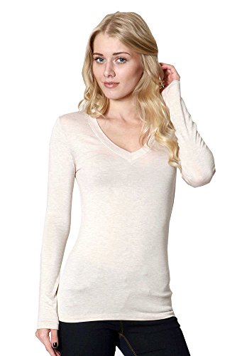 ZENANA RAYON V NECK LONG SLEEVED TEE LARGE HBEIGE