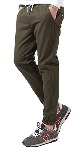 TBMPOY Men's Chino Loose Fit Washed Jogger Pant Straight Tapered Cargo Trousers(2green,us ()