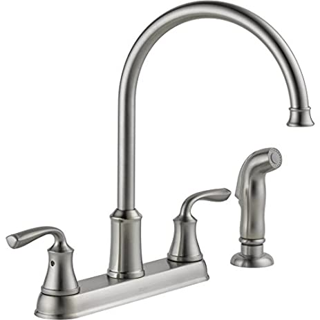 Ordinaire Delta Lorain Stainless 2 Handle Deck Mount High Arc Kitchen Faucet