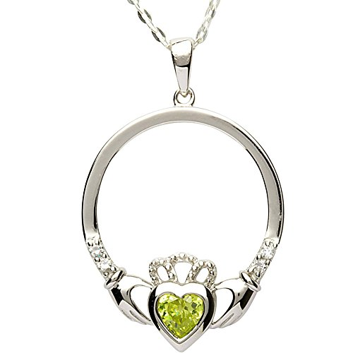 Irish Claddagh Pendant - AUGUST Birth Month Sterling Silver Claddagh Pendant LS-SP91-8. Made in IRELAND.