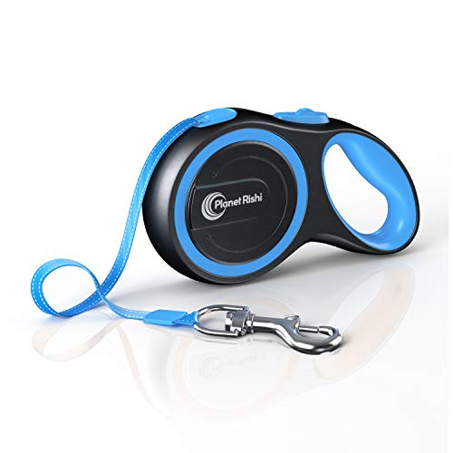 Dog Leash Plastic (16ft Retractable Dog Leash by Planet Rishi - Durable ABS Plastic, 110lb Capacity, Reflective Nylon Tape)