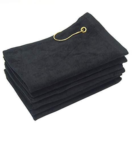 SHOPINUSA Set of 6, Terry Velour Golf Towels Corner Grommet, 100% Cotton Hand Towels (16 x 26, Black)