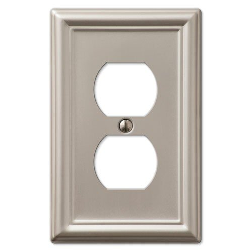 Decorative Wall Switch Outlet Cover Plates (Brushed Nickel, Duplex)