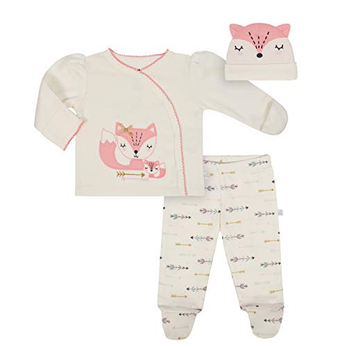 JUST BORN Baby Girls' 3-Piece Organic Take me Home Outfit, Fox, Newborn -