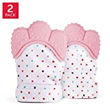 BabyGoods Teething Mitten to Soothe Sore Gums and Promote Teeth Growth | Teether Toy for Boys & Girls | Infant Glove Mitt | FDA Approved Silicone – Set of 2 (Pink) Review