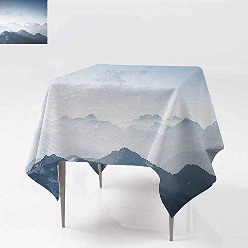 Ice Rock Climbing - DILITECK Decorative Textured Fabric Tablecloth Mountain Foggy Scenic Morning in Rock Mountain Region in Northern Hiking Climbing Ice Photo Party W36 xL36 Soft Blue