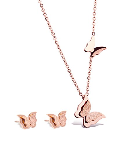 Butterfly Stud Earring Set - Rose Gold Plated Butterfly Necklace Stud Earrings Jewelry Set